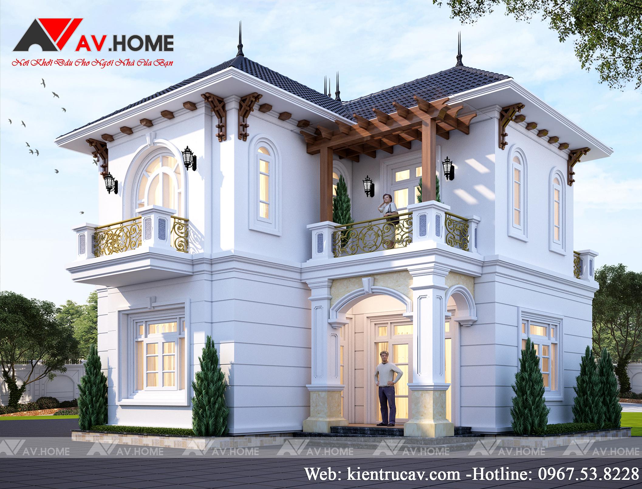 Mẫu biệt thự 2 tầng độc đáo hấp dẫn phong cách tân cổ điển ở Hưng Yên BT1043