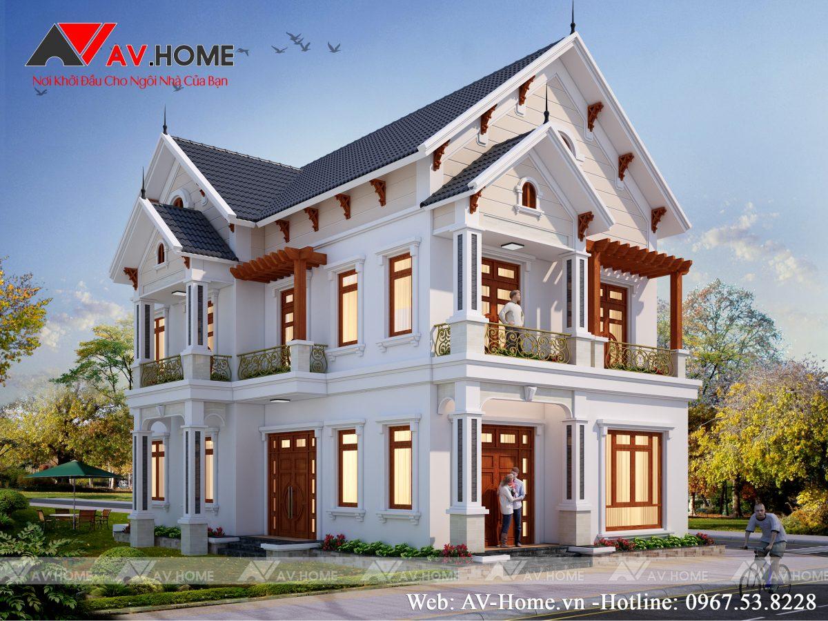 Thiết kế mẫu biệt thự 2 tầng tại Quốc Oai Hà Nội – BT1040
