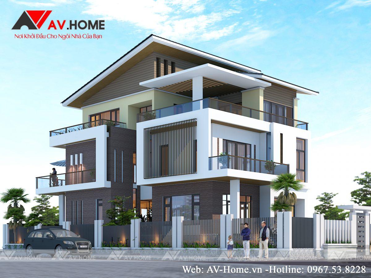 Thiết kế mẫu biệt thự Hiện Đại 3 tầng tại Thái Bình – BT0880