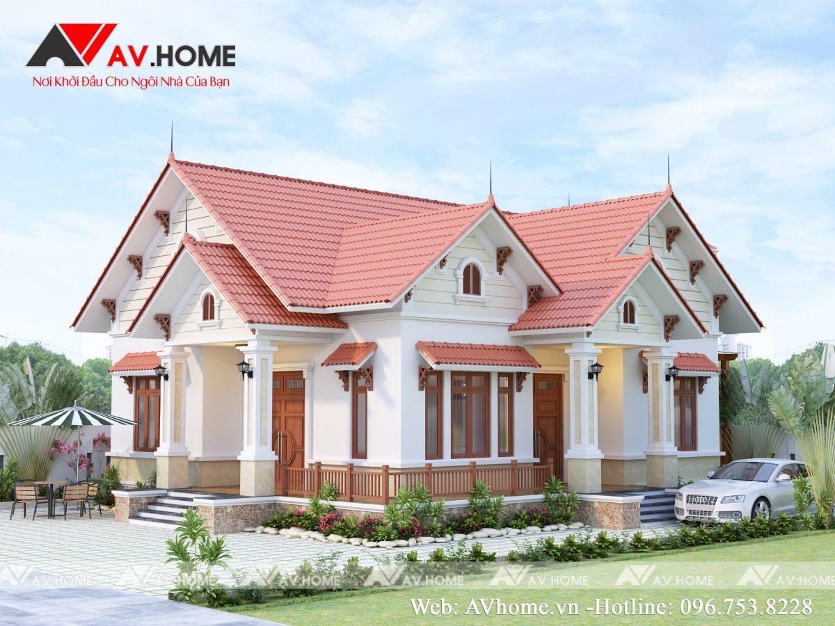 Thiết kế Biệt thự vườn mái thái 1 tầng tại Mộc Châu – BT1060