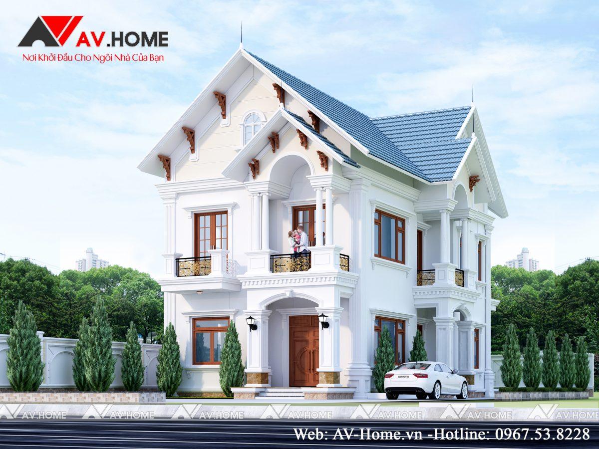 Thiết kế mẫu biệt thự 2 tầng đẹp tại Sao Đỏ, Chí Linh, Hải Dương – BT1070