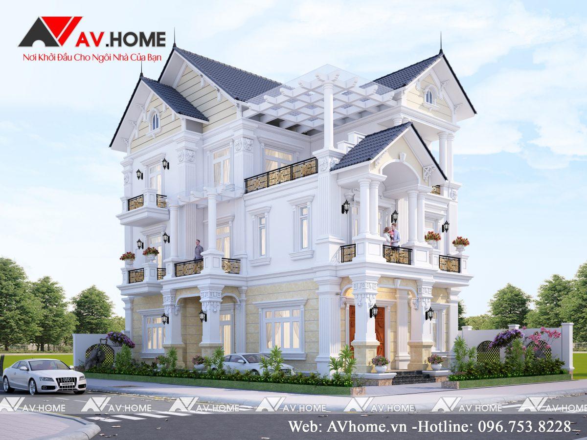 Thiết kế biệt thự 3 tầng 8,5x16m Tại Móng Cái – Quảng Ninh BT1085